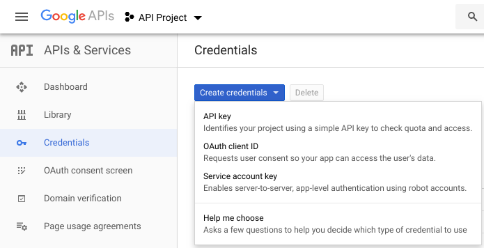 Creating OAuth client ID - step 1