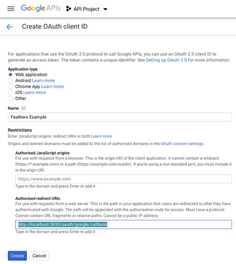 Creating OAuth client ID - step 2