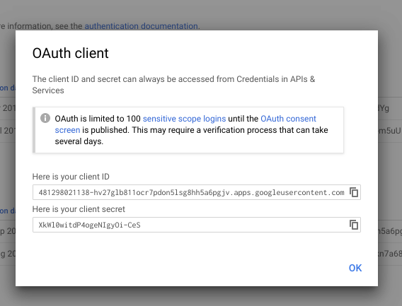 Creating OAuth client ID - step 3